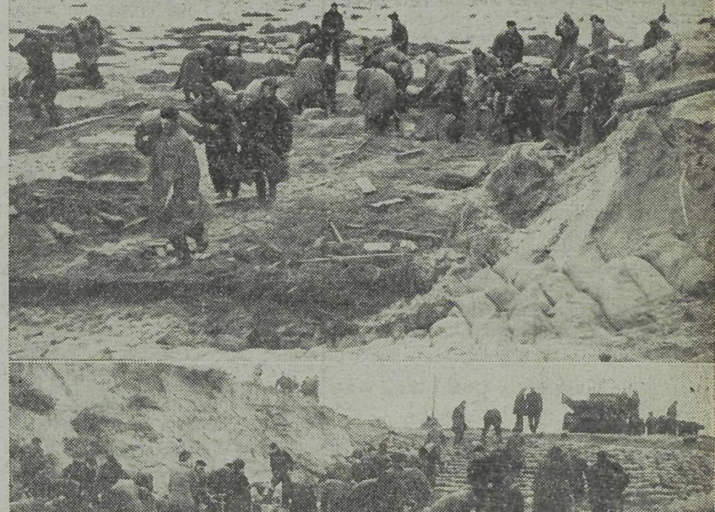De mannen van de Nationale Reserve en tal van vrijwilligers werken de hele dag door in de duinen