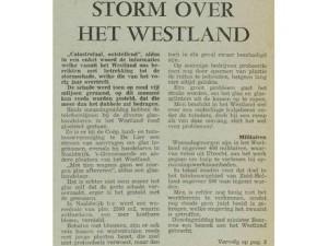 Het bericht over de storm van 1973 in weekblad De Westlander. Klik erop om het te lezen.