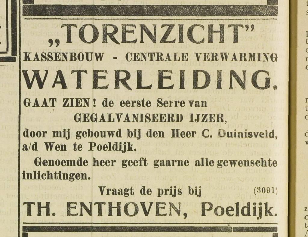 Curieus is, dat de eigenaar van het jachtslot zijn tuinbouwbedrijf ter plekke de naam Torenzicht geeft.