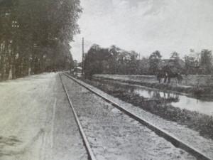 De trambaan langs de Naaldswijkscheweg (nu Dijkweg) gezien vanuit Naaldwijk.